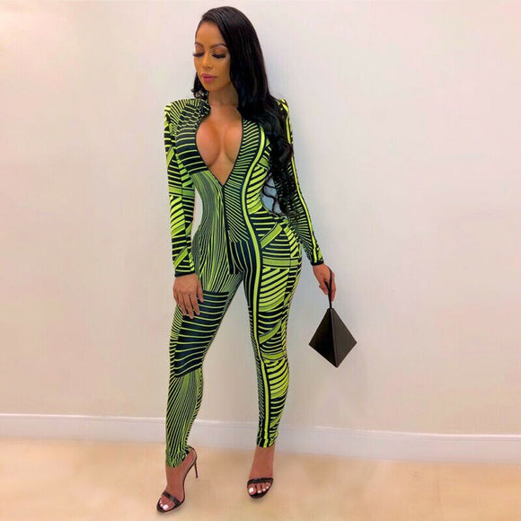 Deep v Neck Green Print Jumpsuit 2020 Women Clubwear Playsuit Bodysuit Party V Neck Long Sleeve Bodysuit Rompers Skinny Long Green Trousers Women