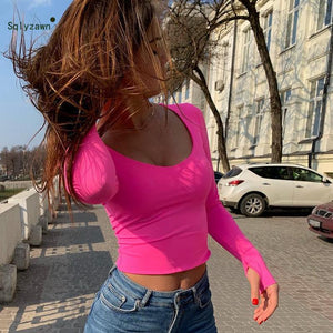 Autumn Long Sleeve Neon Pink Top 2020 Winter T-Shirts for Women Sexy Streetwear Bodycon Fluorescent Green Top Korean Harajuku Tees   Swansstyle