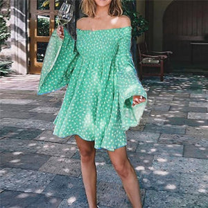 Autumn Summer Dress 2020 Women Fashion Off Shoulder Print Long Sleeve Mini Dress 2020 Casual Elegant Sweet Flare Sleeve A-Line Dress 2020   Swansstyle