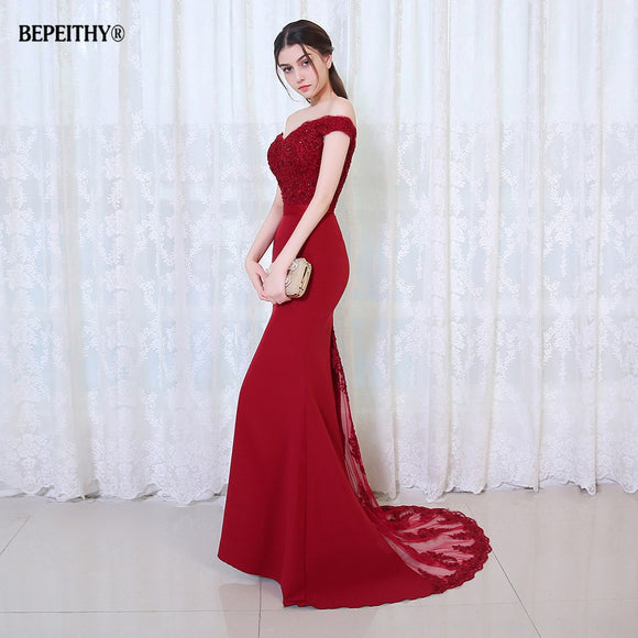 Robe De Soiree Mermaid Burgundry Long Evening Dress Party Elegant Vestido De Festa Long Prom Gown 2020 With Belt