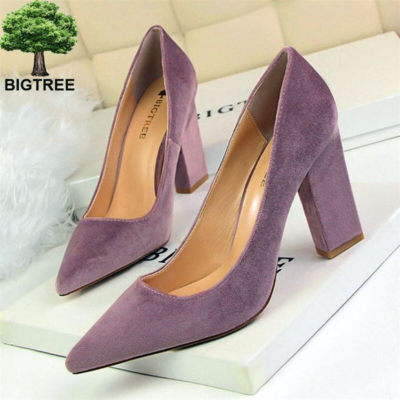 Autumn Concise High Heels Shoes 2020 Women's Fashion Solid Flock Shallow Office Shoes 2020 Sexy Pointed Toe Party Shoes for Women