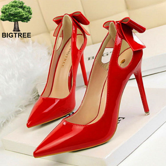 Cut-outs Bowtie Pointed Toe 10cm High Heels 2020 Solid Patent Leather Shallow Woman Party Pumps Office OL Shoes Woman