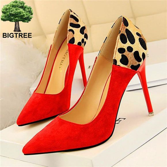 Sexy Leopard Spliced Flock Pumps 2020 New Show Thin Fashion Party Shoes 2020 Pointed Toe Shallow Women'High Heels Shoes