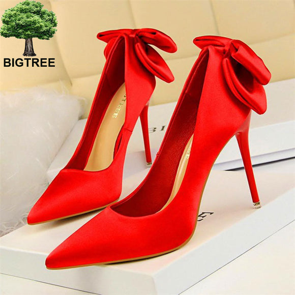 Solid Silk Sweet Butterfly-knot Shoes 2020 Pointed Toe High Heels Shoes 2020 Shallow Women's Fashion Wedding Shoes