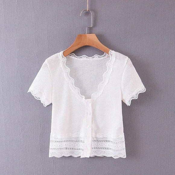 White Crop Top 2020 BRADELY MICHELLE crop tops for Sexy women Summer White cotton knitted deep v-neck short-sleeve t-shirt with lace Sleeveless Tank Top