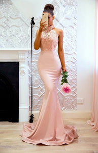 Sexy Sleeveless Halter Satin Evening Dress 2020 Elegant Floor Length Light Pink Lace Party Dress 2020 Gown Robe Soirée Longue