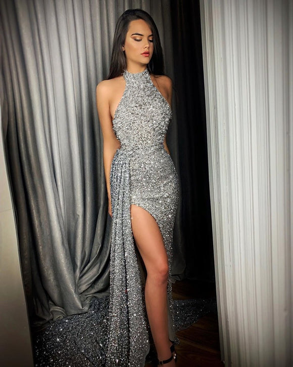Sequin Prom Dresses 2020 Arrival Sexy Halter Neck Evening Dresses 2020 Sleeveless Split Prom Dresses Side Sequined Evening Dress Robe De Soiree Longue Mariage