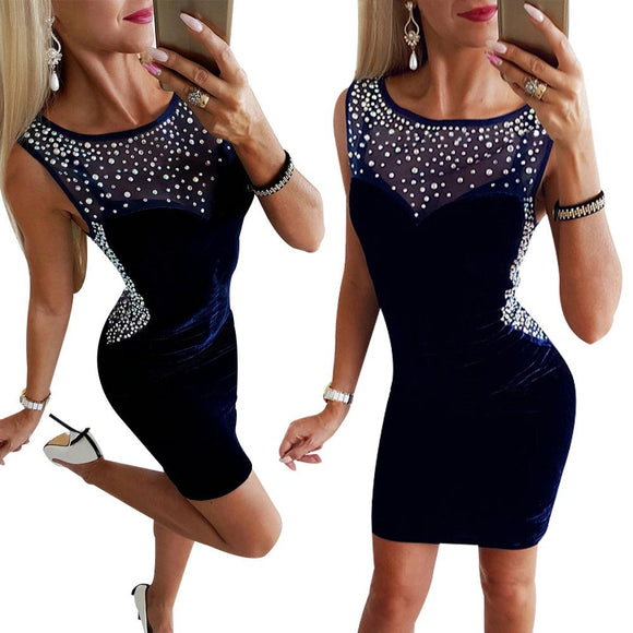 Bling Diamonds Party Dress 2020 Summer Midi Bodycon Dress 2020 Sleeveless Diamonds Neck Sheath Dress 2020 Women Fashion 2020  Swansstyle