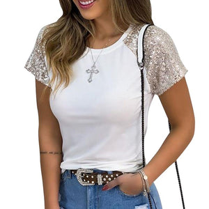 Bling Bling Sequins Short Sleeve T-Shirts 2020 Summer Patchwork O-Neck Tee 2020 Shirt Tshirt Femme Casual Round Neck Top 2020 Women Fashion 2020  Swansstyle