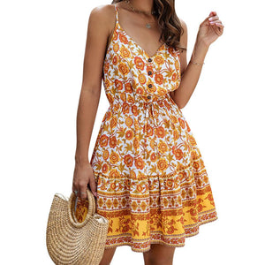Floral Print Bohemian Dress 2020 Summer V-neck Dress For Women Floral Print Sleeveless Dress 2020 Female Vintage Beach Mini Dress 2020   Swansstyle