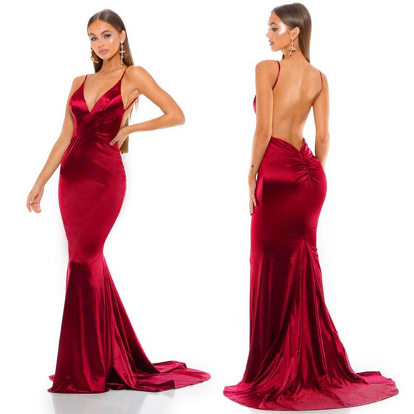 Burgundy Backless Prom Dresses Red Evening Party Spaghetti Strap Dresses V Neck Floor Length Open Back Red Mermaid Dresses