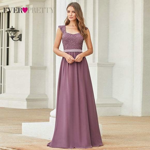 Elegant Burgundy Bridesmaid Dresses 2020 Long A-Line Chiffon Wedding Guest Dresses 2020 Ever Pretty EZ07704 Grey Simple Vestido Longo