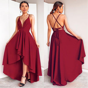 Burgundy High/Low V-Neck Backless Spaghetti Straps Sleeveless Bridesmaid Dresses   Swansstyle