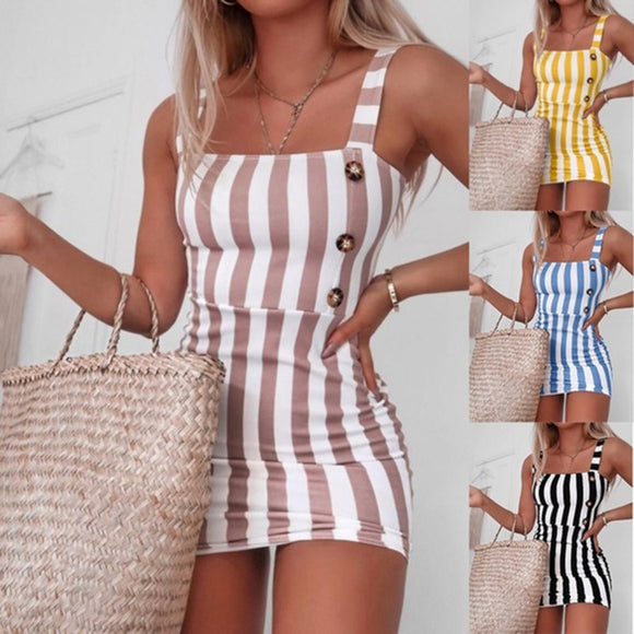 Casual Mini Sundress 2020 Women Summer Dress 2020 Sexy Mini Dress 2020 Ladies Vintage Vestidos Backless Straps Striped Sexy Dress 2020