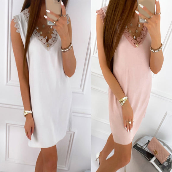 Casual Mini Lace Dress 2020 Summer Women Sleeveless V Neck Straight Dress 2020 Lace Neck Casual Basic Mini Dress 2020
