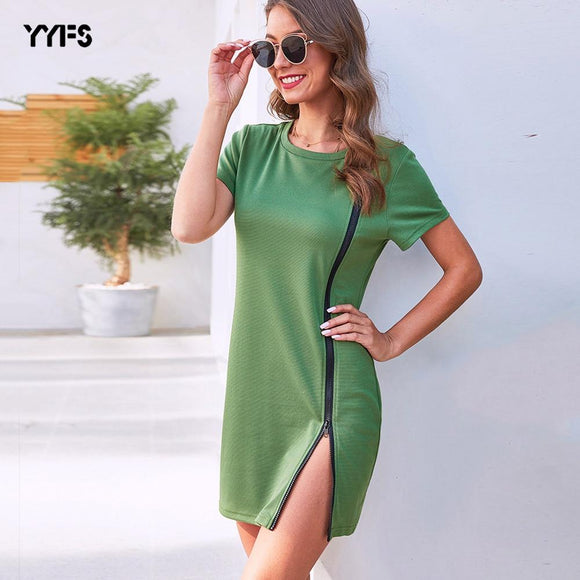 Casual Pencil Bodycon Dress 2020 Summer Women Elastic Slim Wrap Short Sleeve Zipper Dress 2020 O Neck Green Dress Lady Work Mini Dress 2020 Clothing   Swansstyle