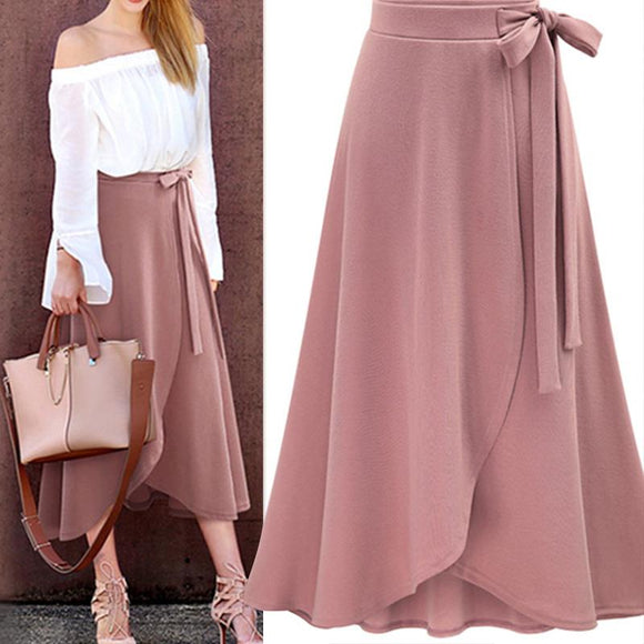 Pink Ruffle Long Skirt 2020 High Waist Bowtie Split Irregular Skirts 2020 Chiffon Pink Maxi Skirt   Swansstyle