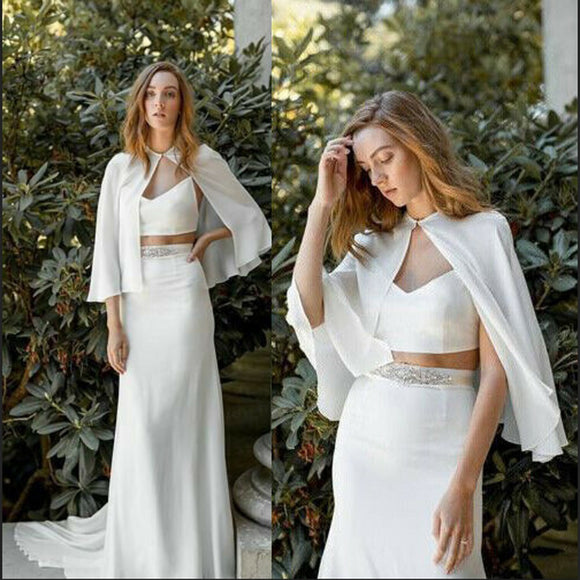 Cheap Wedding Jackets 2020 Chiffon Women Bridal Boleros 2020 Capes Wedding Formal Jackets Shawls White Plus Size