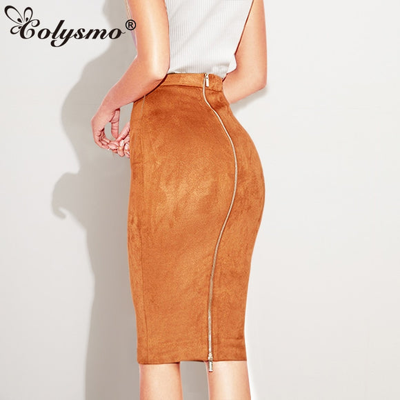 Stretch Pencil Skirt High Waist Faux Leather Skirt 2020 Winter Skirts Women's Two-way Zipper Through Pencil Skirt Saia Midi Suade Skirt 2020
