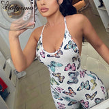 Butterfly Print Jumpsuit 2020 Women Summer Sleeveless Shoulder Strap Cross Backless Sexy Jumpsuits 2020 Bodycon Overalls For Women