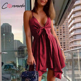 Fashion Spaghetti Strap Asymmetrical Dress 2020 Female Sexy Deep V High Waist Satin Dress 2020 Short Party Dress Plus Size