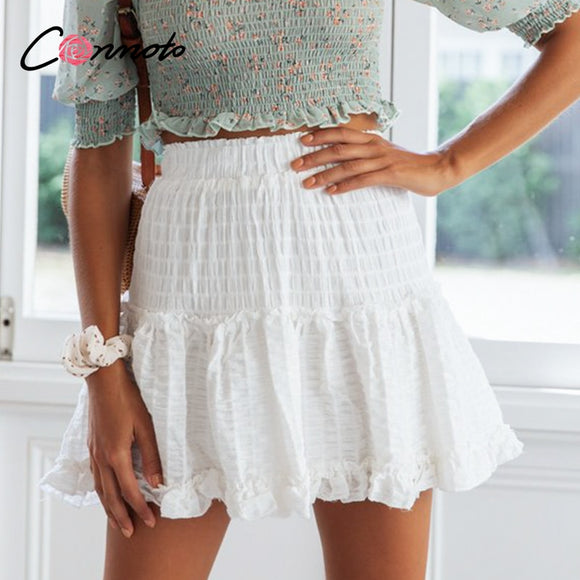 high waist summer 2020 white skirts women ruffles chiffon skirt 2020 elastic waist mini beach femme skirts