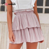 pleated pink skirts 2020 holiday elastic high waist casual skirt 2020 flounce short high fashion kirts