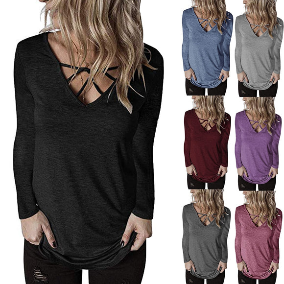 Women's Criss Cross Shirt 2020 Plain Top Plunging Neckline Deep V Neck T Shirts 2020 Women Tunic Long Sleeve Casual T-Shirts Cute Solid Color Plain Tshirt