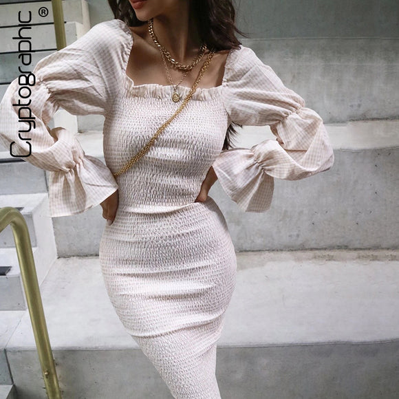 Fashion Square Collar Long Sexy Dress 2020 Puff Sleeve White Ruched Dress Knitted White Pencil Dresses 2020 Slim Casual Plaid Midi Dress