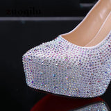 Crystal Pumps Women Shoes Platform High Heels Wedding Shoes Bride Red Silver Platform High Heels Ladies Shoes Woman Sandals 2020   Swansstyle