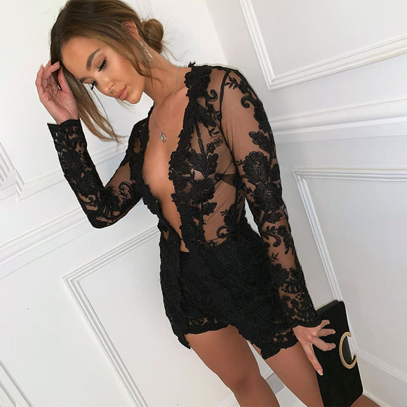 Lace Transparent Two Piece Set 2020 lace print black two Piece Set Women Elegant Transparent 2 Piece Set Top And Pants Sexy women set outfit 2020