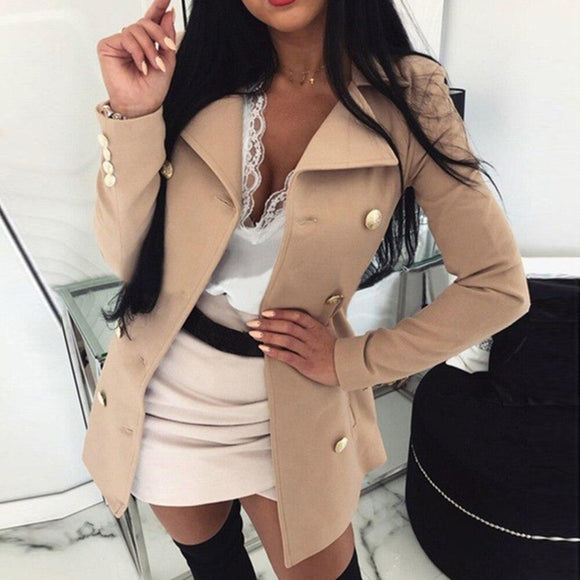 New Style Women Coat 2020 Solid Color Slim Buttons Jacket Casual Femme Long Sleeve Jacket 2020 Suit Blazers Ladies Tops Clothes   Swansstyle