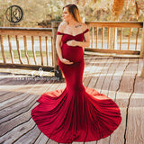 Mermaid Red Maternity Dress 2020 Red Prom Pregnancy Dress Off Shoulder Cotton Long Pregnancy Dress 2020 Red Baby Shower Dress For Photo Shoot