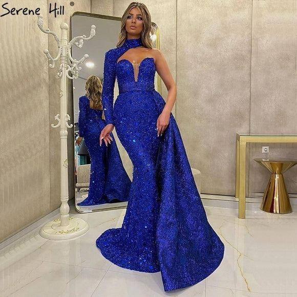 Dubai Royal Blue Mermaid Sexy Evening Dress 2020 One Shoulder Sparkly Formal Dress 2020 Serene Hill La70453