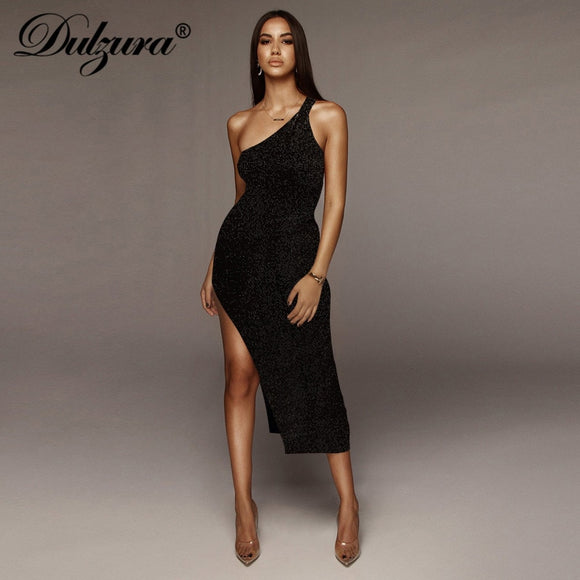 summer women long dress 2020 sexy one shoulder slit backless party dress glitter dress 2020 sparkle bling club elegant vestidos