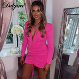 Pink pleated dress 2020 drawstring deep v neck long sleeve bodycon dress 2020 sexy party autumn winter clothes streetwear club dress