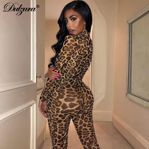 see through transparent leopard print sexy women winter mesh long jumpsuit festival body outfits party clothing