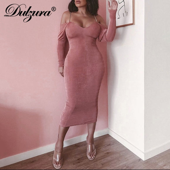 women midi dress 2020 long sleeve bodycon sexy dress 2020 off shoulder elegant chain backless streetwear autumn winter party