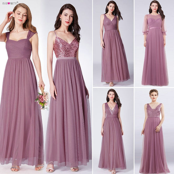 Dust Pink Long Bridesmaid Dresses 2020 Ever-Pretty Women Elegant Dresses For Weddings Party Guest Gowns Sweetheart Tulle Bridesmaid Dresses 2020