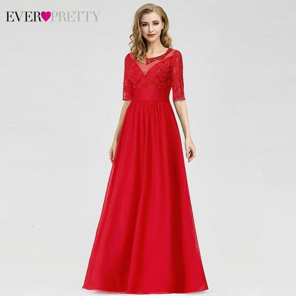 Evening Dresses, Cheap Evening Dresses, Elegant Red Evening Dresses Ever Pretty A Line O Neck Half Sleeve Beaded Cheap Chiffon Formal Party Dresses Robe De Soiree 2020