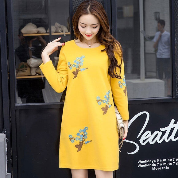 Embroidered Yellow Maternity Dresses Clothes Fashion Casual Yellow Pregnancy Dress For Women Autumn Winter Yellow Baby Shower Dresses Maternity Sweatshirt