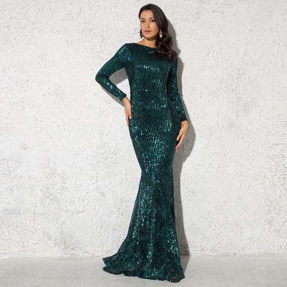 O-Neck Sequin Prom Dresses 2020 Emerald Sequin O Neck Long Sleeve Evening Party Dress 2020 Stretchy Elegant Sequin Floor Length Maxi Dress Gown Black