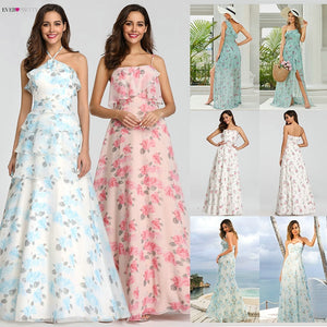 Ever Pretty Elegant Evening Dresses Long A-Line Off Shoulder Floral Print Chiffon Formal Party Gowns Women Robe De Soiree 2020