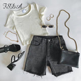 White Crop Top 2020 FSDA O Neck Knit White Crop Top Women Summer Casual T Shirt Basic Sexy Streetwear Ribber Black Short Sleeve Tops   Swansstyle