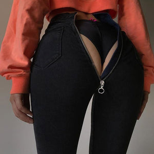 Cheap Jeans, New Style High-q Zipper Jeans 2020 Elastic Fabric Material Black Blue Hot Sale Sexy Streetwear Female Pants Jeans