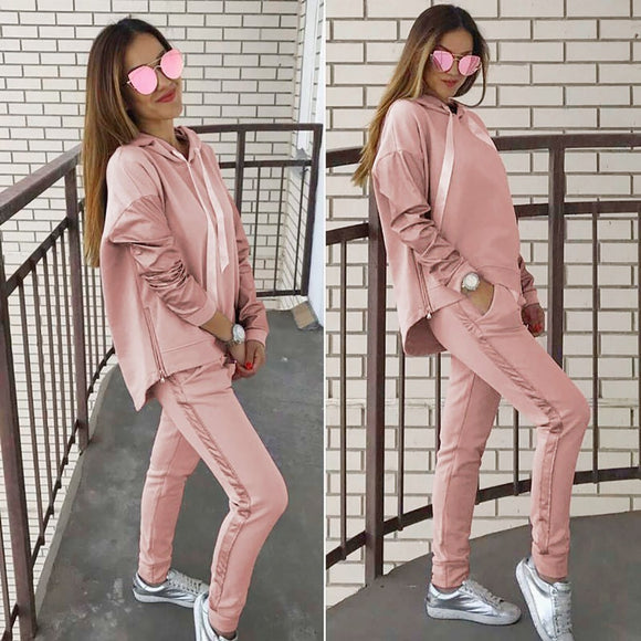 Fashion Sweatshirt 2 Piece Tracksuit 2020 Women Loose Hooded Top Women Tracksuit Solid Long Pants Two Piece Suits 2020