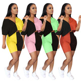 Fashion Two Piece Set 2020 Women Color Patchwork Loose Half Sleeve Crop top and Shorts Set 2020 Tracksuit Jogging Clothes For Women Outfits   Swansstyle
