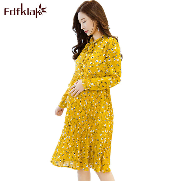 Yellow Baby Shower Dresses Home Floral Maternity Nursing Dress Long Sleeve Pregnant Dress Floral Print Maternity Dresses