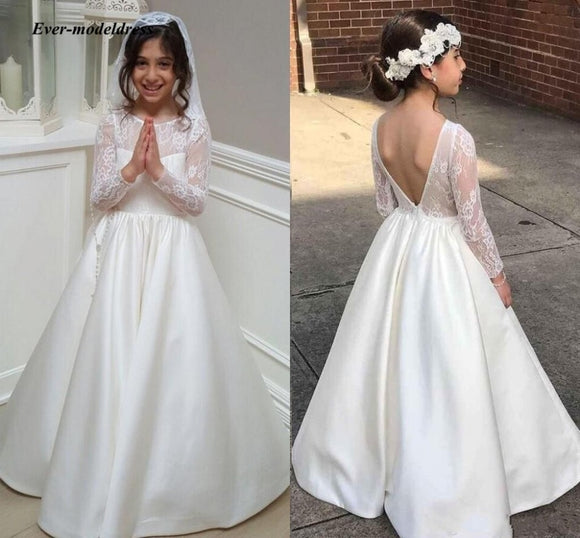Flower Girl Dresses For Wedding 2020 Backless One-Neck Ivory A-Line Lace Appliques Long Sleeve Girls First Communion Gowns