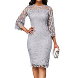 Mother of Bride Dresses 2020 Geometrically Transparent Seven Sleeve Elegant Lace Dress 2020 Women Spring Knee-Length Slim Dress 2020 Patchwork Office Lady Dresses